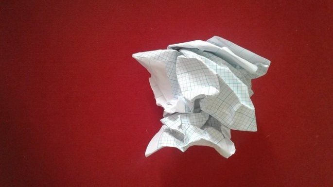 scrunched up paper